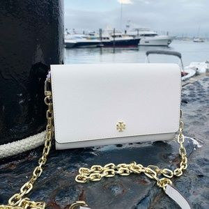 Tory Burch White Emerson Chain Wallet BNWT